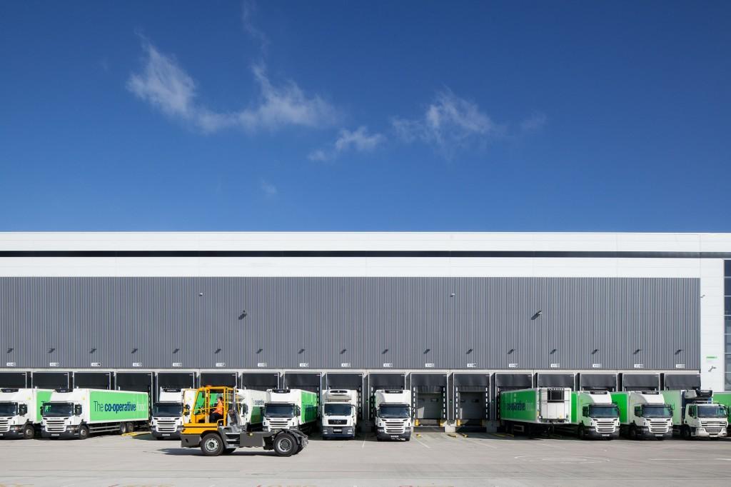 Architectural image Co op Distribution Centre dispatch lorries