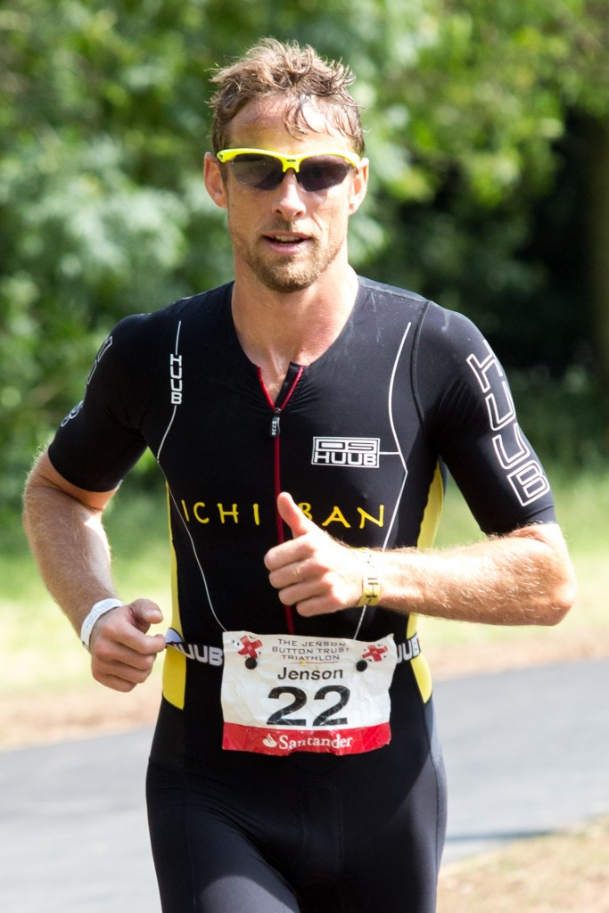 Jenson Button flying on the run section of the 2015 Jenson Button Trust Triathlon