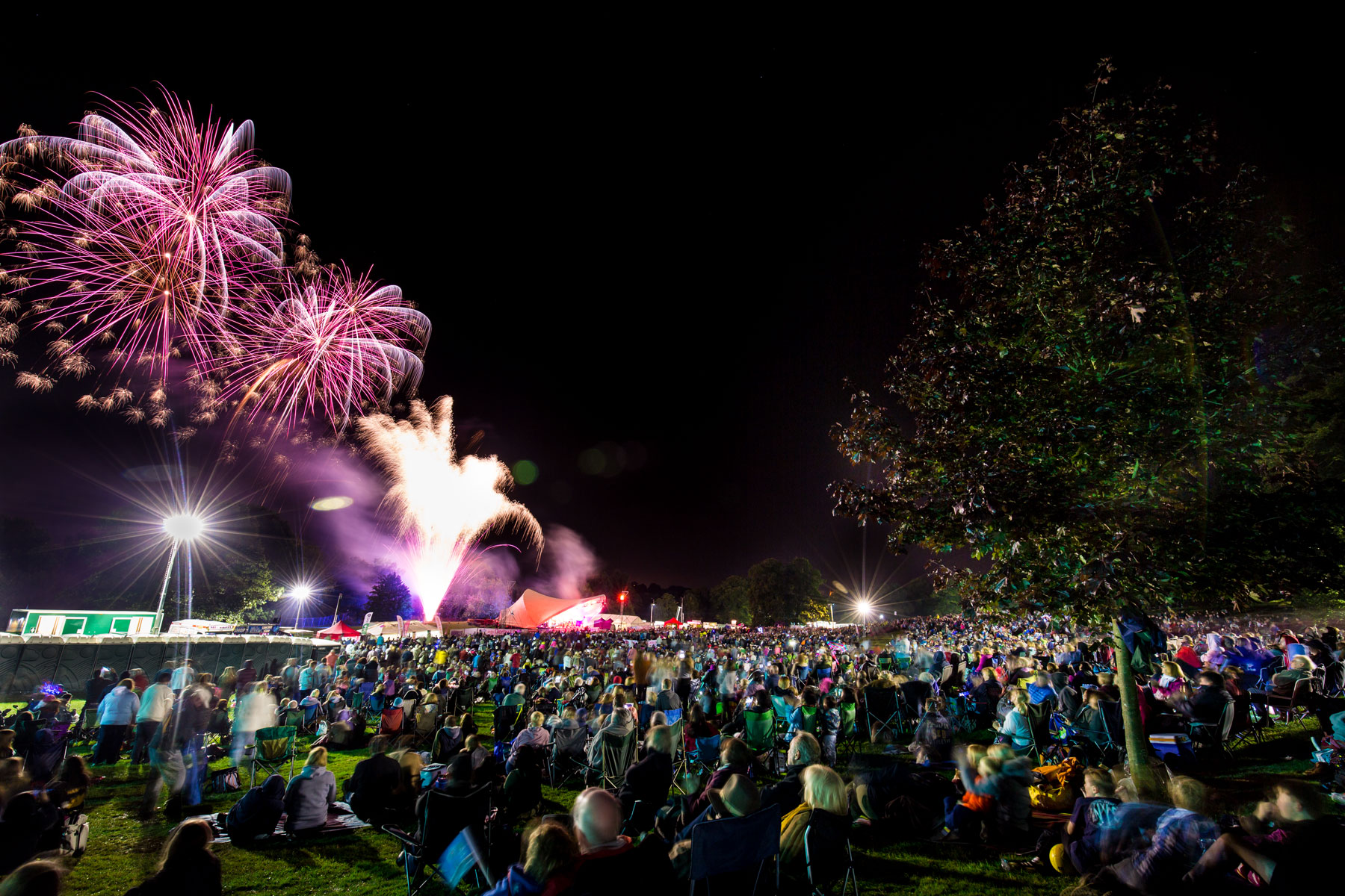 Purple fireworks over the satge at Proms in the Park, Derby 2015