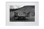 Cart at abonandoned Quarry Nant Gwrtheyrn. Lynn Peninsula.White frame