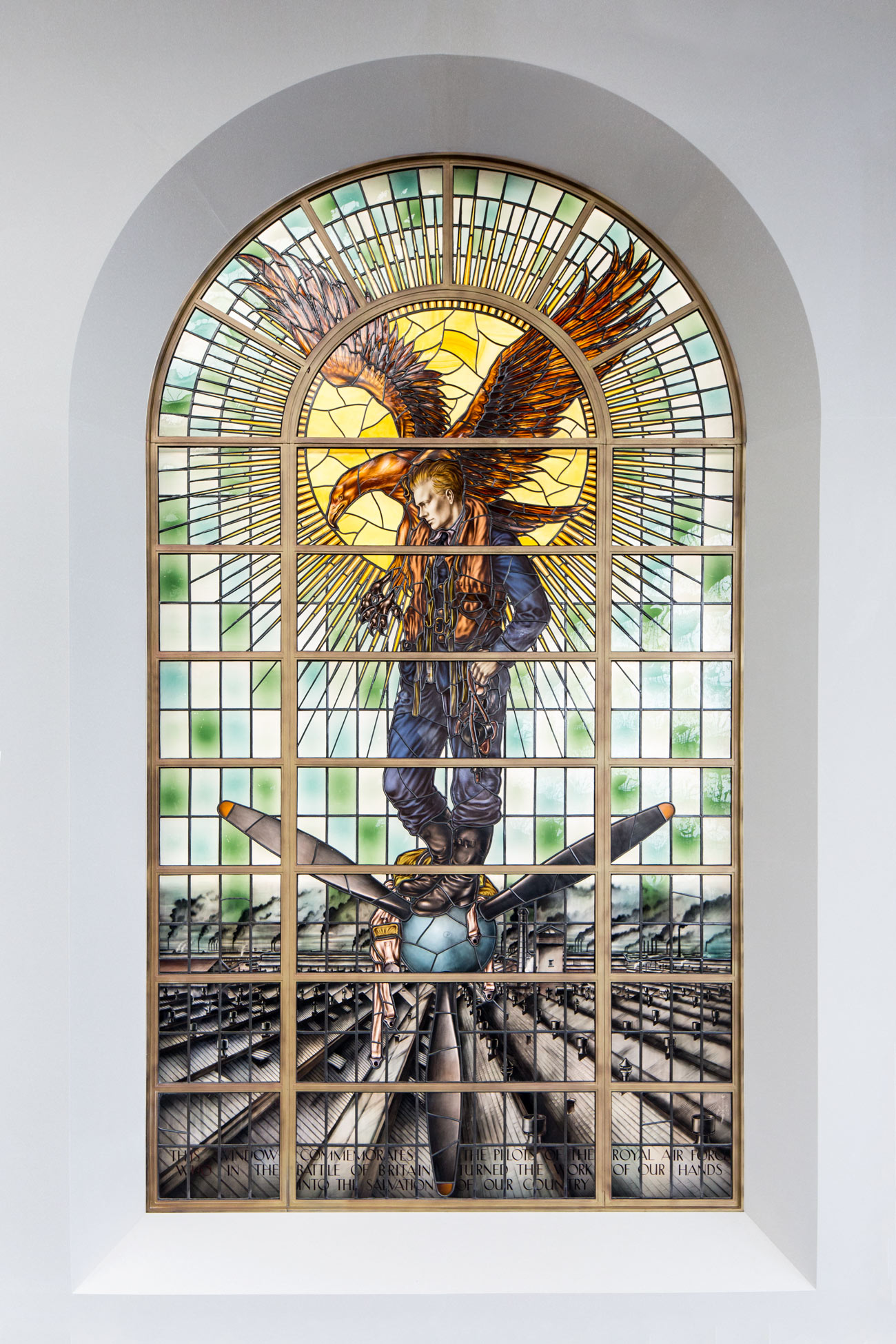 High resoltion photograph of the Rolls-Royce Battle of Britain memorial stained-glass window in Derby