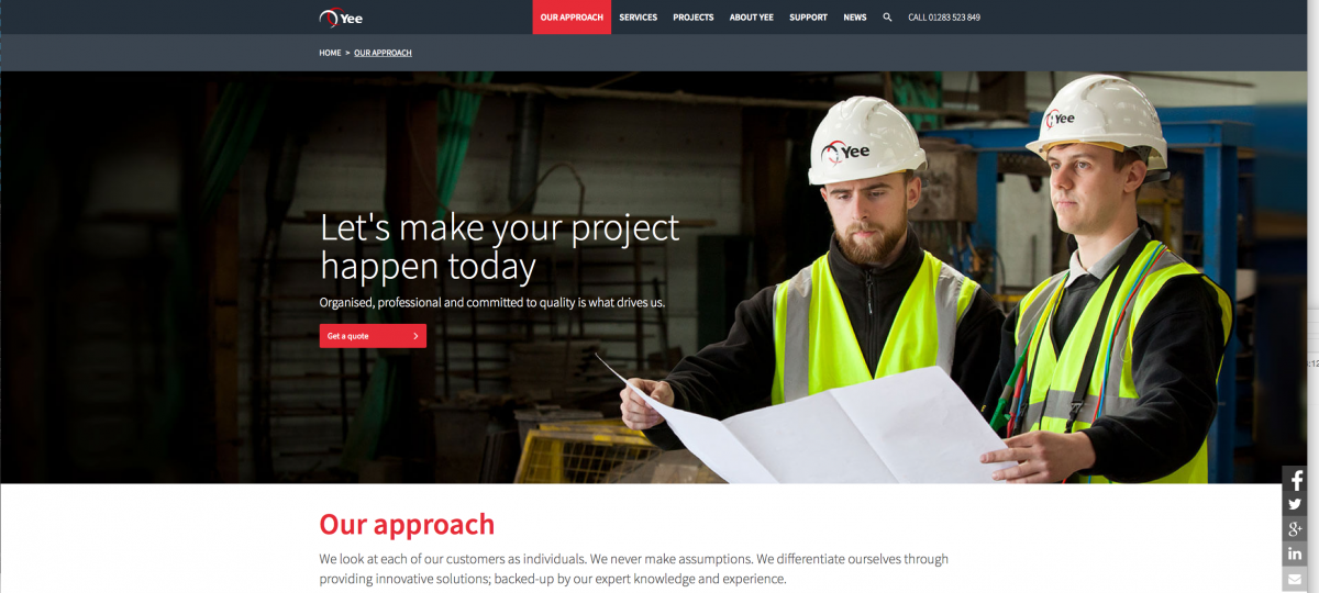 Engineers reading plans on web banner