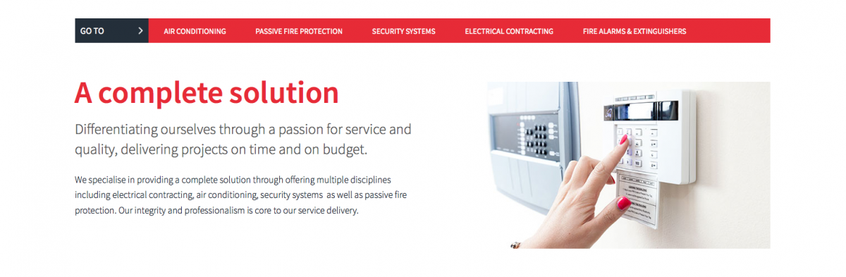Alarm panel and hand web banner