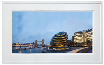 The tower of London, Tower Bridge and London City Hall shot from More London Riverside white frame
