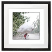 Young female plastic bottle collector India 2 of 2 black frame