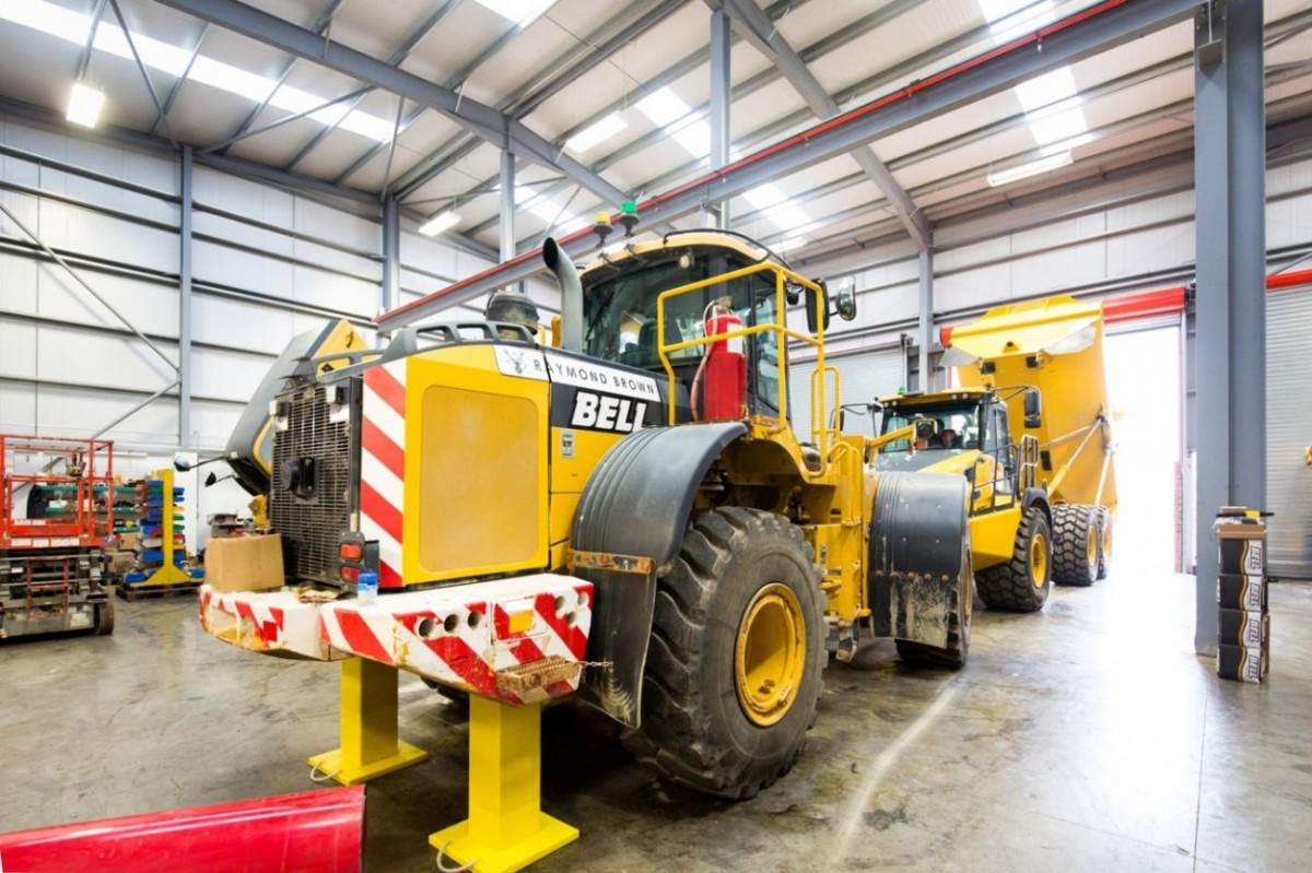 Articulated Dump Trucks in mainatence workshop