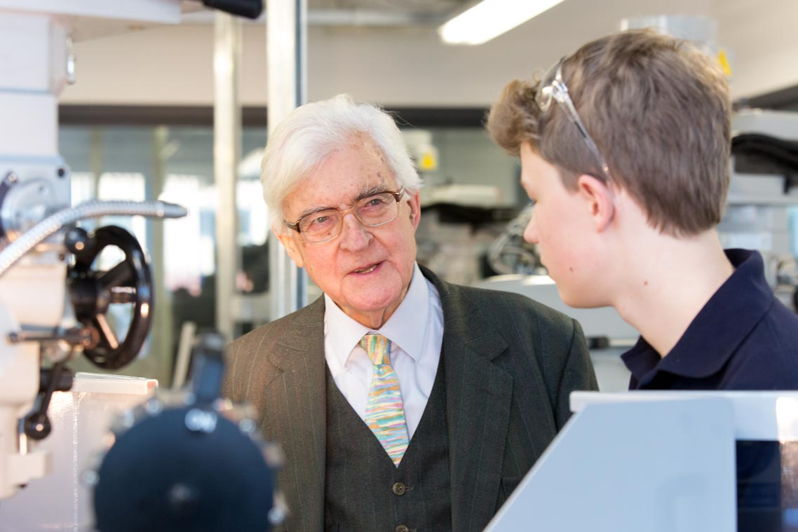 Lord Baker talking to students