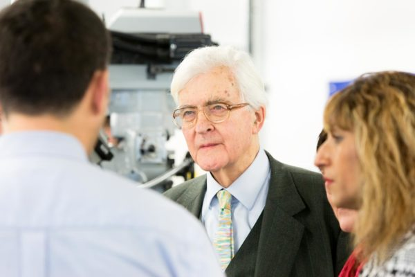 Lord Baker talks to students in Derby