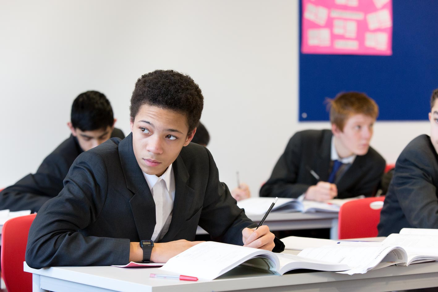 UTC student thinking in classroom