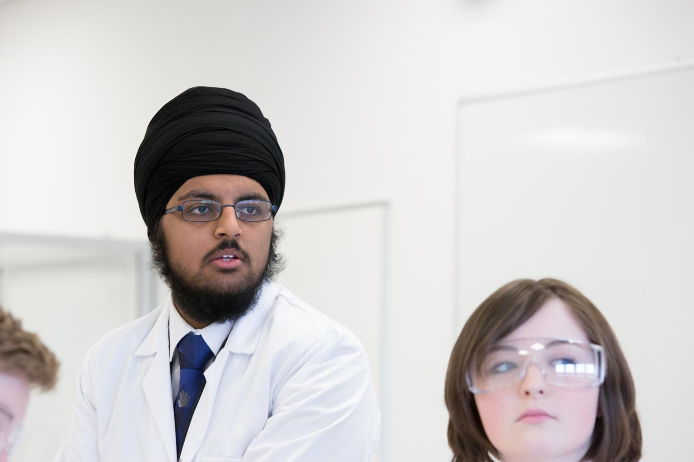 Young sikh in science lab