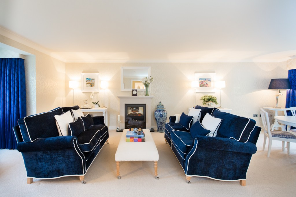 interior photography at Hampshire Lakes Retirement furnishings are navy blue and white