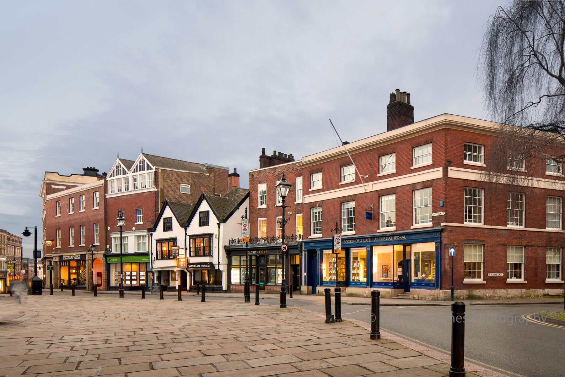 Shops, cafe's and restraunts at the top end of Friar Gate
