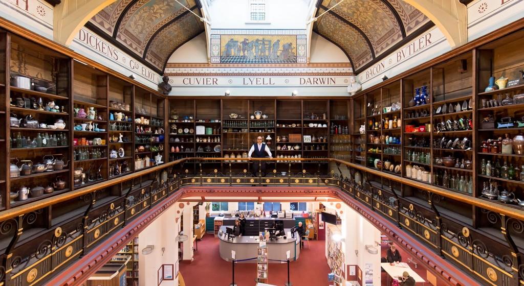 Derby Museum upper shelves.