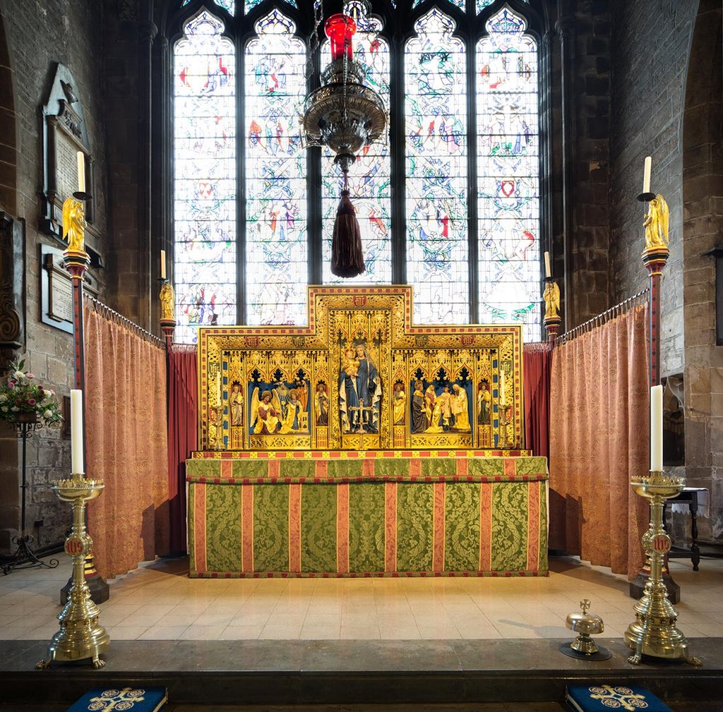 Altar and golden reredos