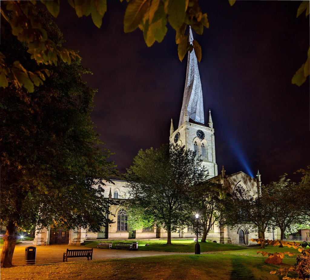 External late dusk shot of The Church of St Mary and All Saints, Chesterfield