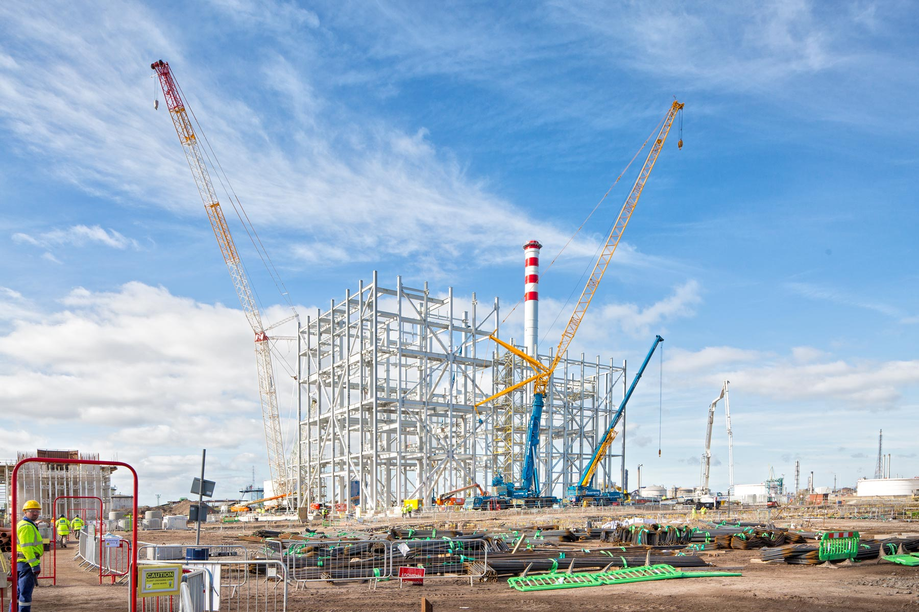Photographic documentation of the construction of the worlds largest biomass plant, Teeside