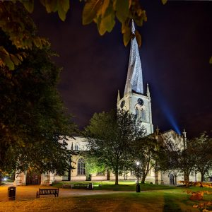Chesterfield crooked Spire at night