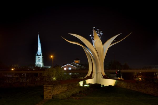 Growth Sculpture view with spire in the background