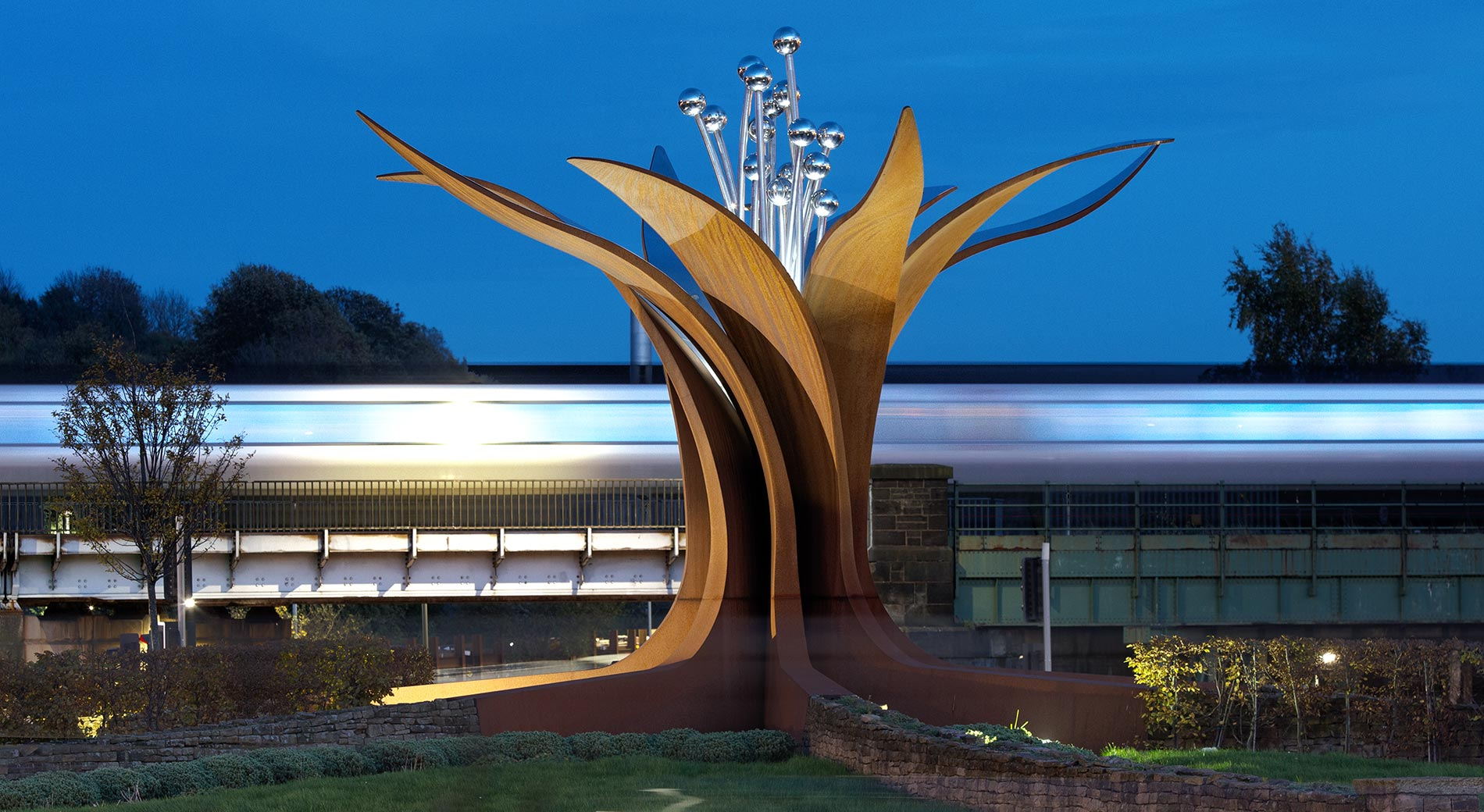 Chesterfield Growth Sculpure at dusk with speeding train