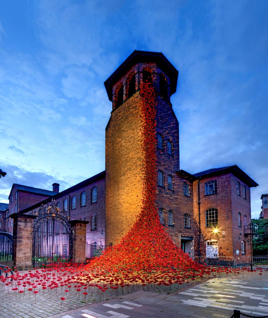 Paul Cummins Silk Mill poppies at dusk