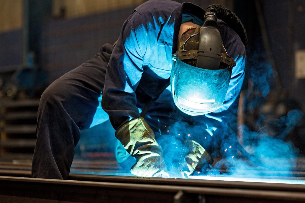 Welder at work Weightron Weighbridges Chesterfield