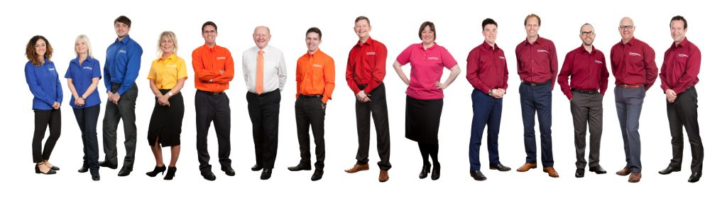 Multi coloured workwear groupshot