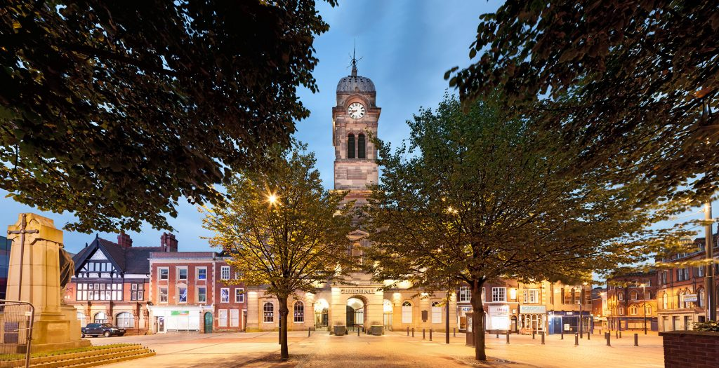 Architectural photograph of Guildhall from the Market Place, Derby