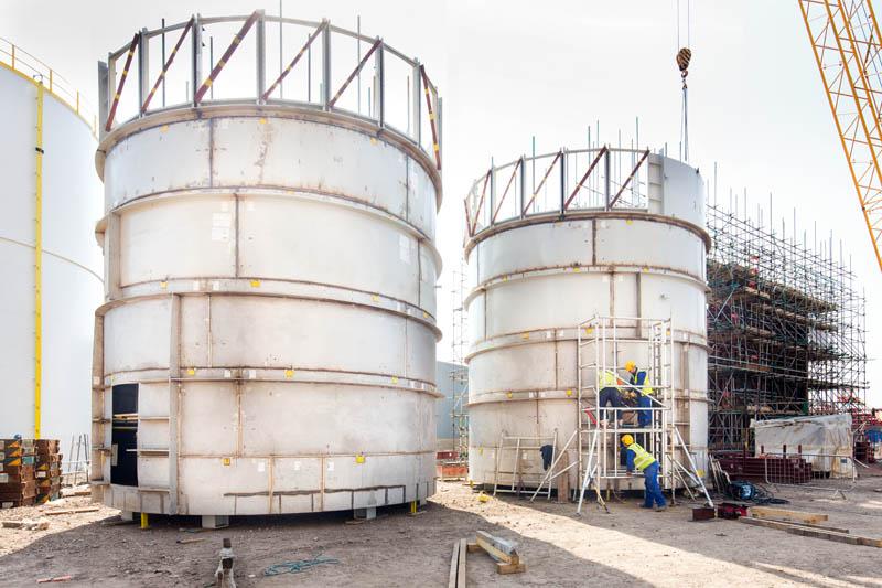 Two white silos