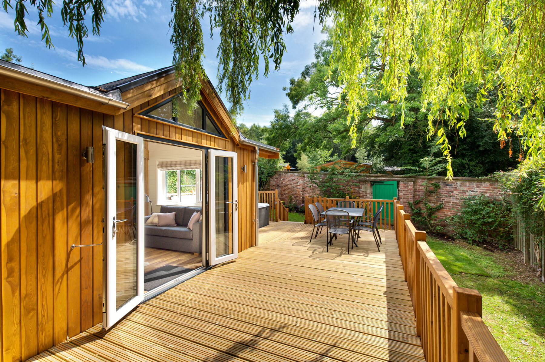 Lodge patio and open doors