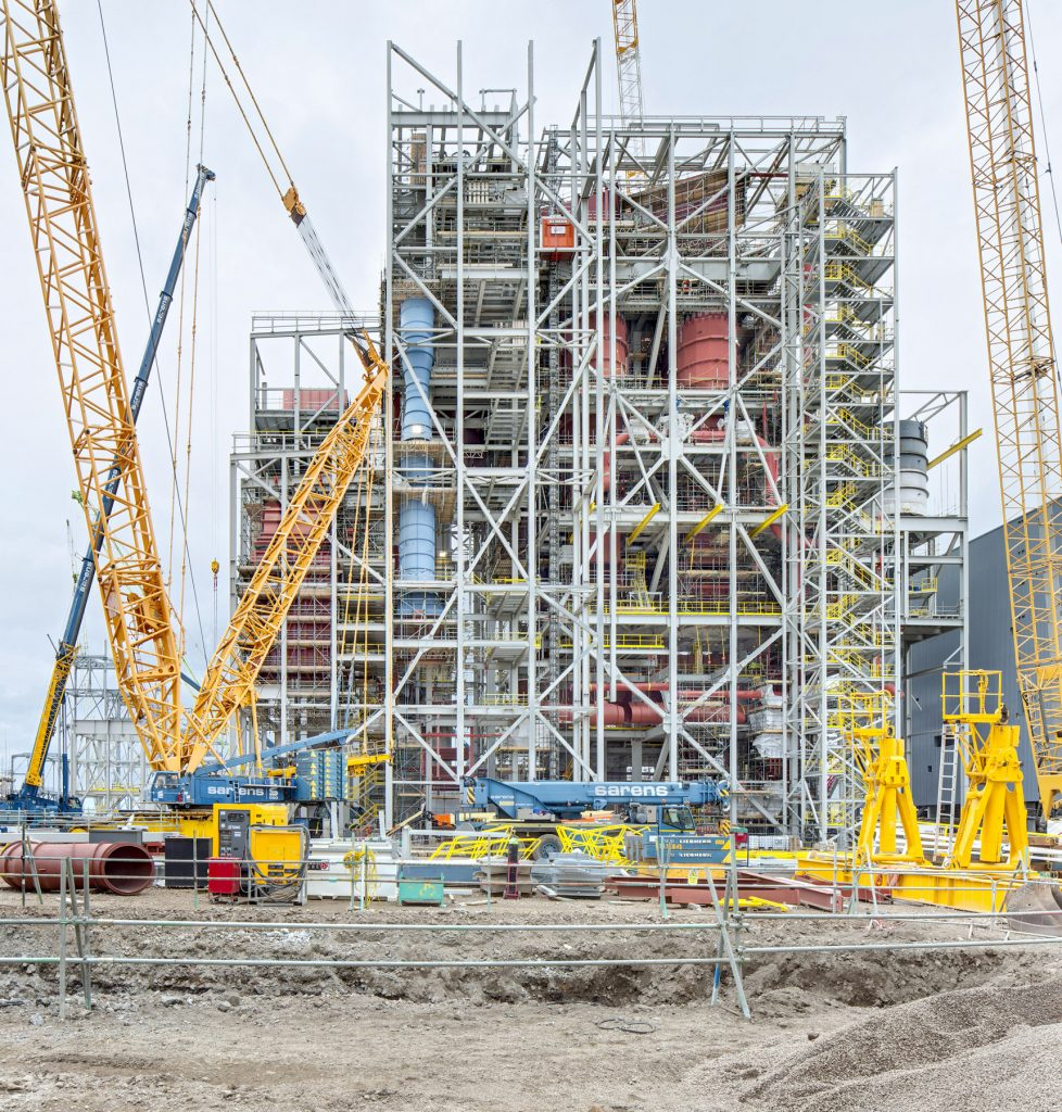 Teesside power plant, Exposed steel work and internal pipe work by construction photographer Matthew Jones
