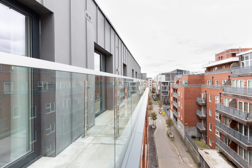 Glass balustrade left and Manchester street right