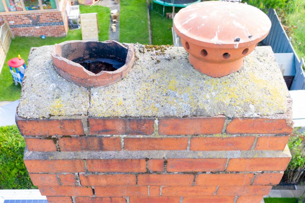 Drone inspection example of broken terracotta chimney pot