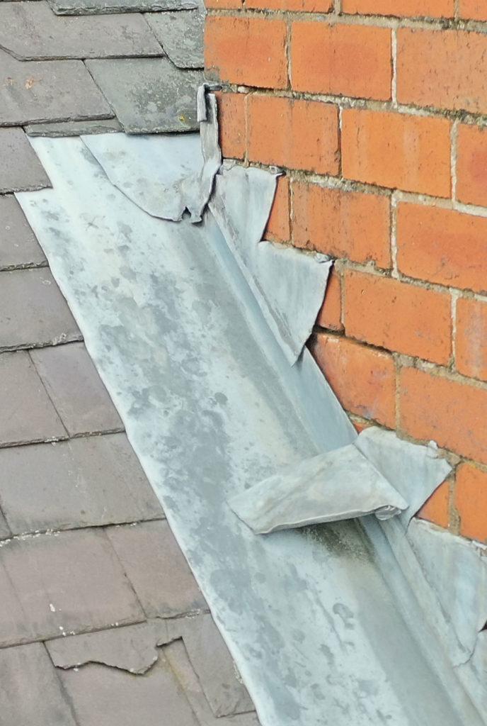 Lead flashing in need of repair