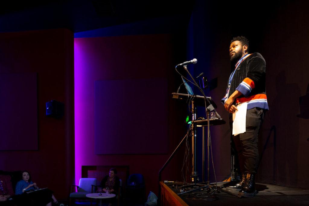 Standing speaker on stage