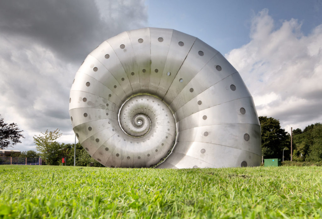 Ammonite fossil shape metal sculpture