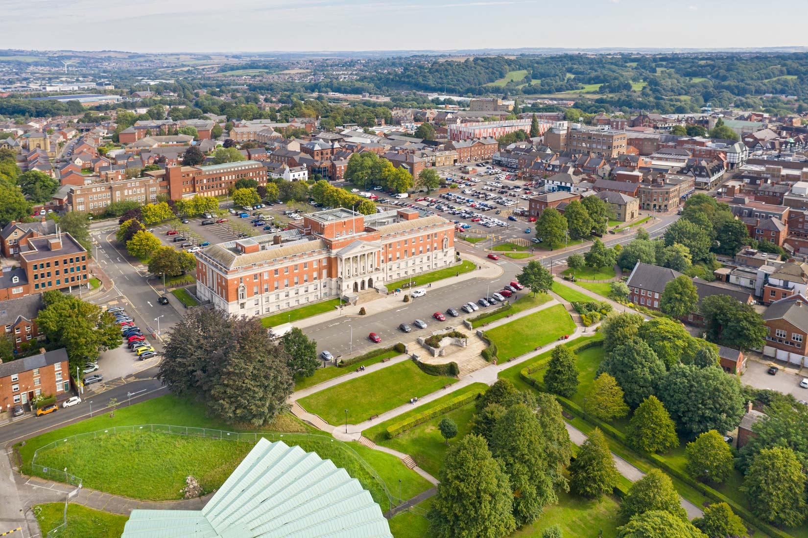 Aerial photography of the town hall Chesterfield