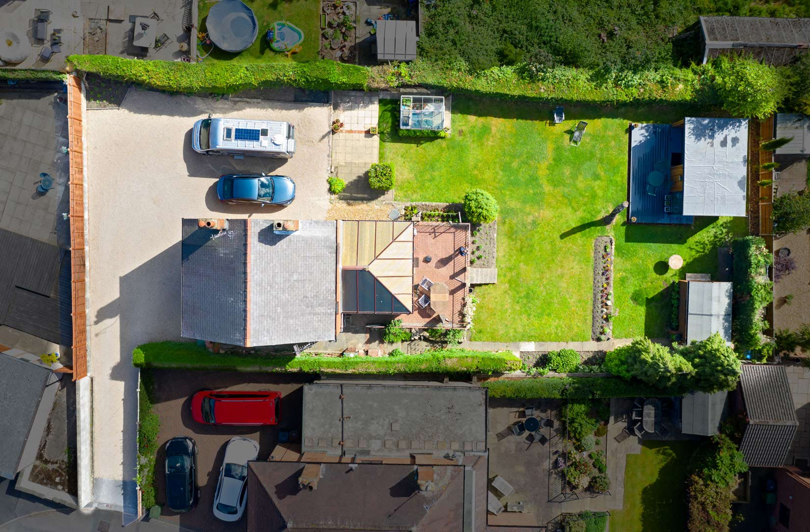 Drone image looking straight down to a house and garden