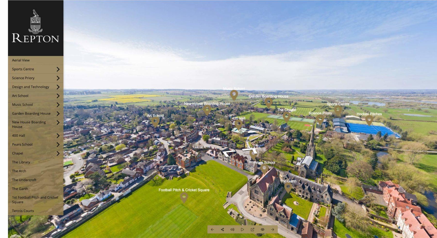 Navigational Overlay with menu for Repton School virtual tour