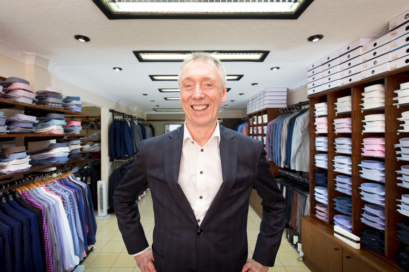 personal brand photography of Draper in a gentleman's outfitters store