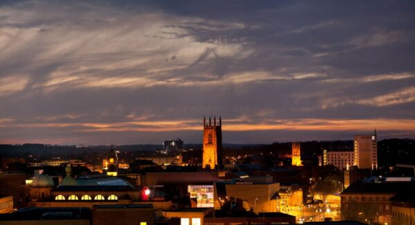 Derby Skyline Dusk with the cathedral at the centre taken to promote Derby